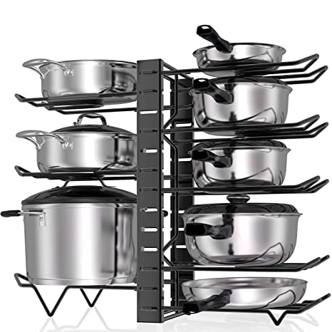 Msbenick Pan Rack Organizer, Spacing Adjustable, 3 DIY Methods, Kitchen  Cabinet Organization, Pot Lid Cookware Holder
