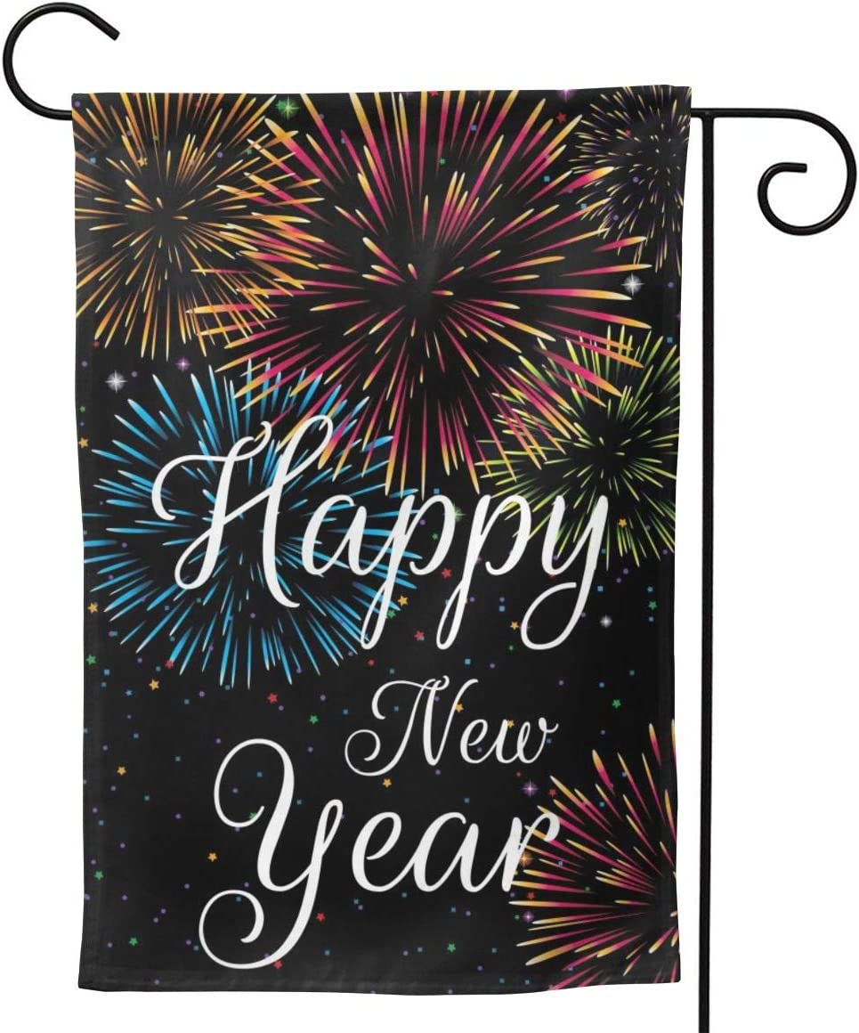 YISHOW Happy New Year Celebration Garden Flag Double Sided Vertical January Firework Decoration House Flags Yard Signs Outdoor Decor 12.5