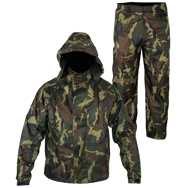 A-pro Anti Pluie Combinaison Blouson Pantalon Pê che Chasse Capuche Impermeable Vert XL 5180000083854
