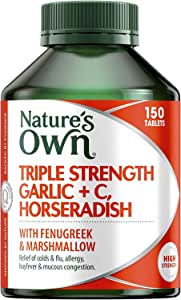 Nature's Own Triple Strength Garlic + C, Horseradish - Reduces Severity of Colds - Supports Respiratory Health, 150 Tablets