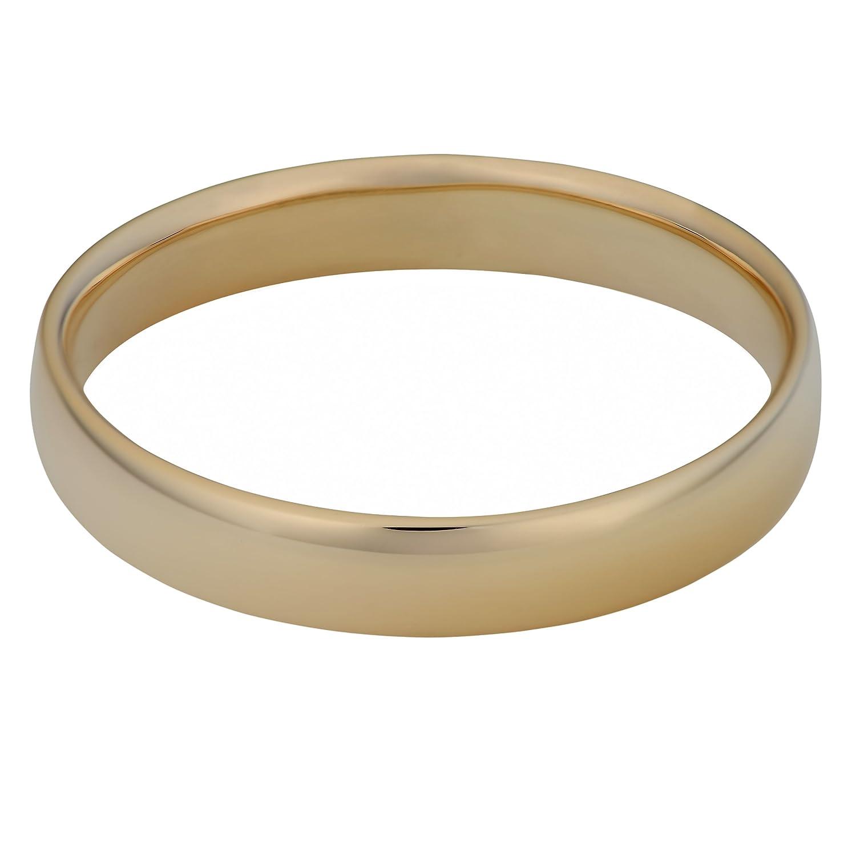 Kooljewelry 14k Yellow Gold 4 mm Comfort Fit Hollow Wedding Band