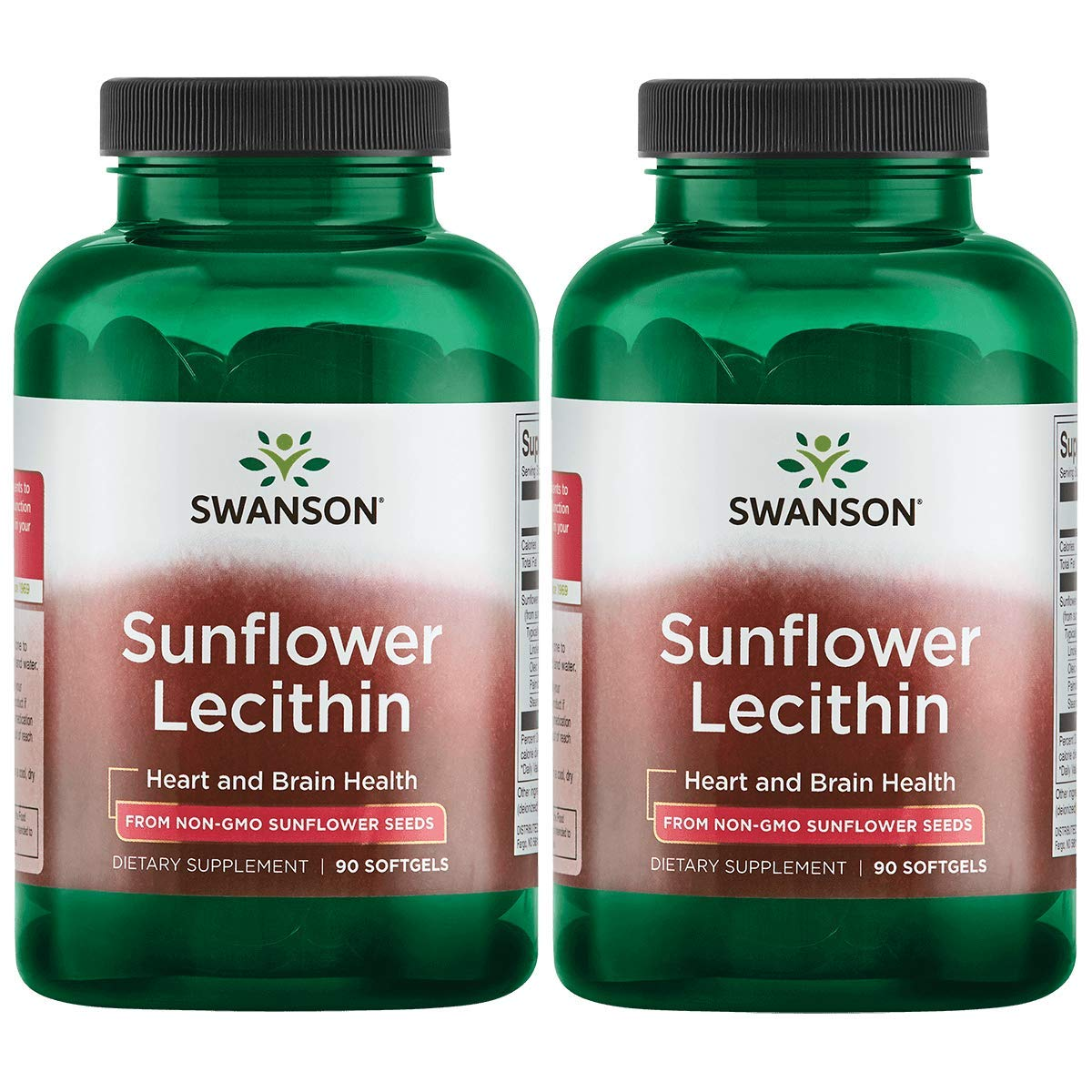 Swanson Sunflower Lecithin Non-GMO 1,200 mg 90 Sgels 2 Pack by Swanson