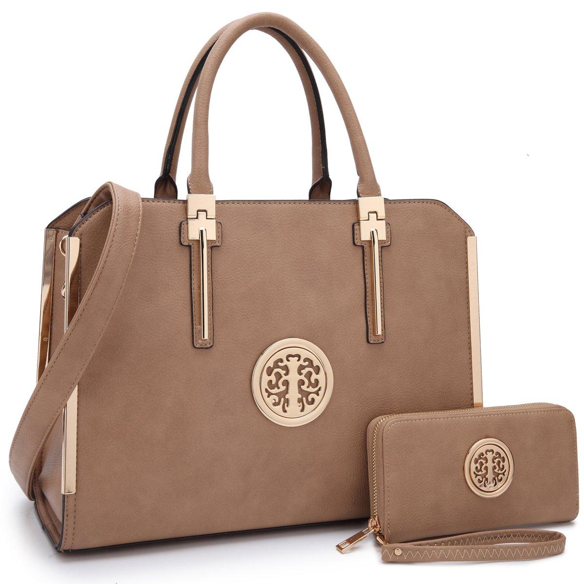 MMK Fashion Handbag for Women Classic Satchel handbag Designer Top handle purse Trending Hobo Tote bag 2 pieces(Handbag/wallet) Set (B-7555-W-Beige) by 1988 Marco M.Kelly