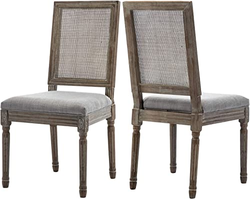 ZHENGHAO French Country Rectangle Cane Back Dining Chairs Set of 2