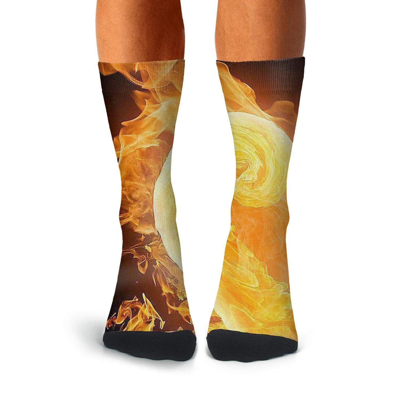 KCOSSH Fire Love Unique Calf Socks Athletic Crew Sock For Men Knee High Long Stockings