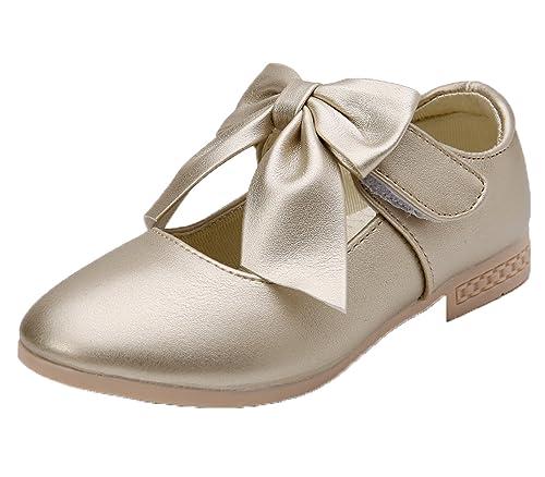 Kikiz Girls Leather Dress Ballet Mary Jane Bow Slip On Flat Shoes  (Toddler Little