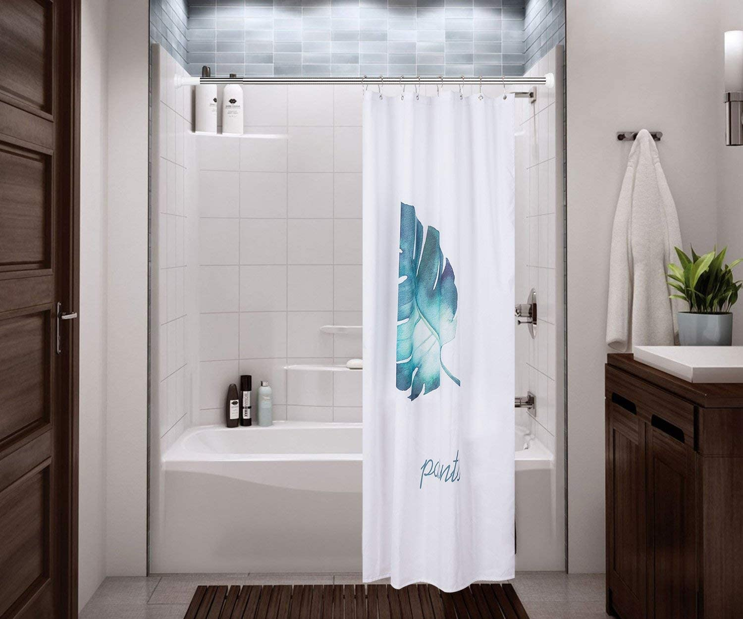Shower Curtain Rod Adjustable Spring Tension Rust Proof No