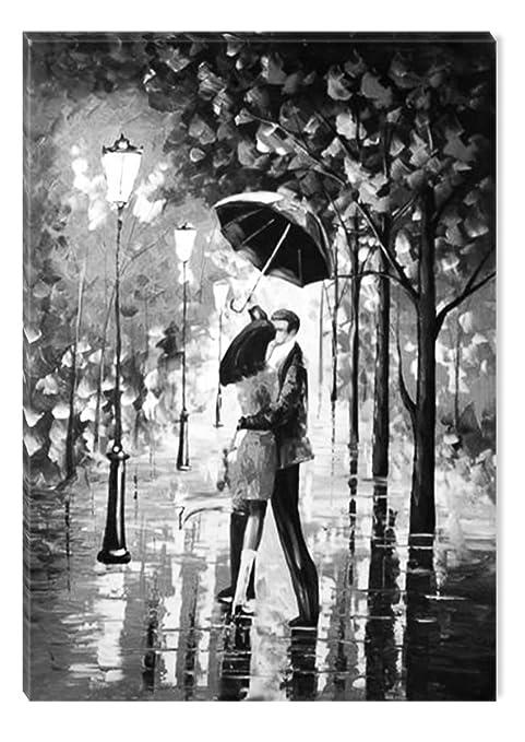 Startonight Quadro su Tela Bianco e Nero Bacio Sotto la Pioggia ...