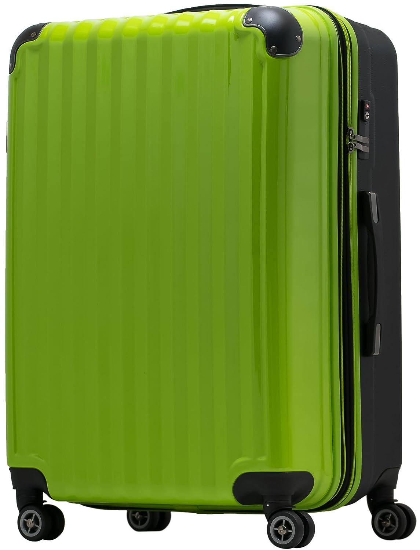【JP Design】スーツケース 超軽量 tsaロック 容量アップ拡張機能付 ダブルキャスター8輪(機内持込~LL 全4サイズ)ハードキャリー ファスナータイプ キャリーバッグ キャリーケース B01IP61FXG LM|グリーン/BK グリーン/BK LM