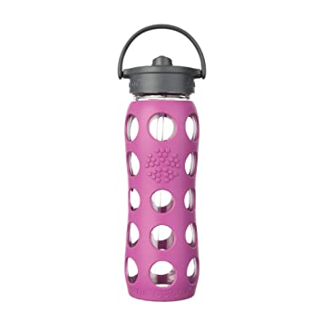 Lifefactory Vidrio-Botella con Paja Cap Rosa Huckleberry Talla:650 ML