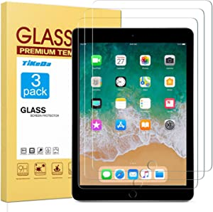 TiKeDa [3 Pack] Screen Protector for iPad 9.7 (2018 & 2017)/iPad Pro 9.7,Tempered Glass with Apple Pencil Compatible/Ultra Clear/Scratch Resistant