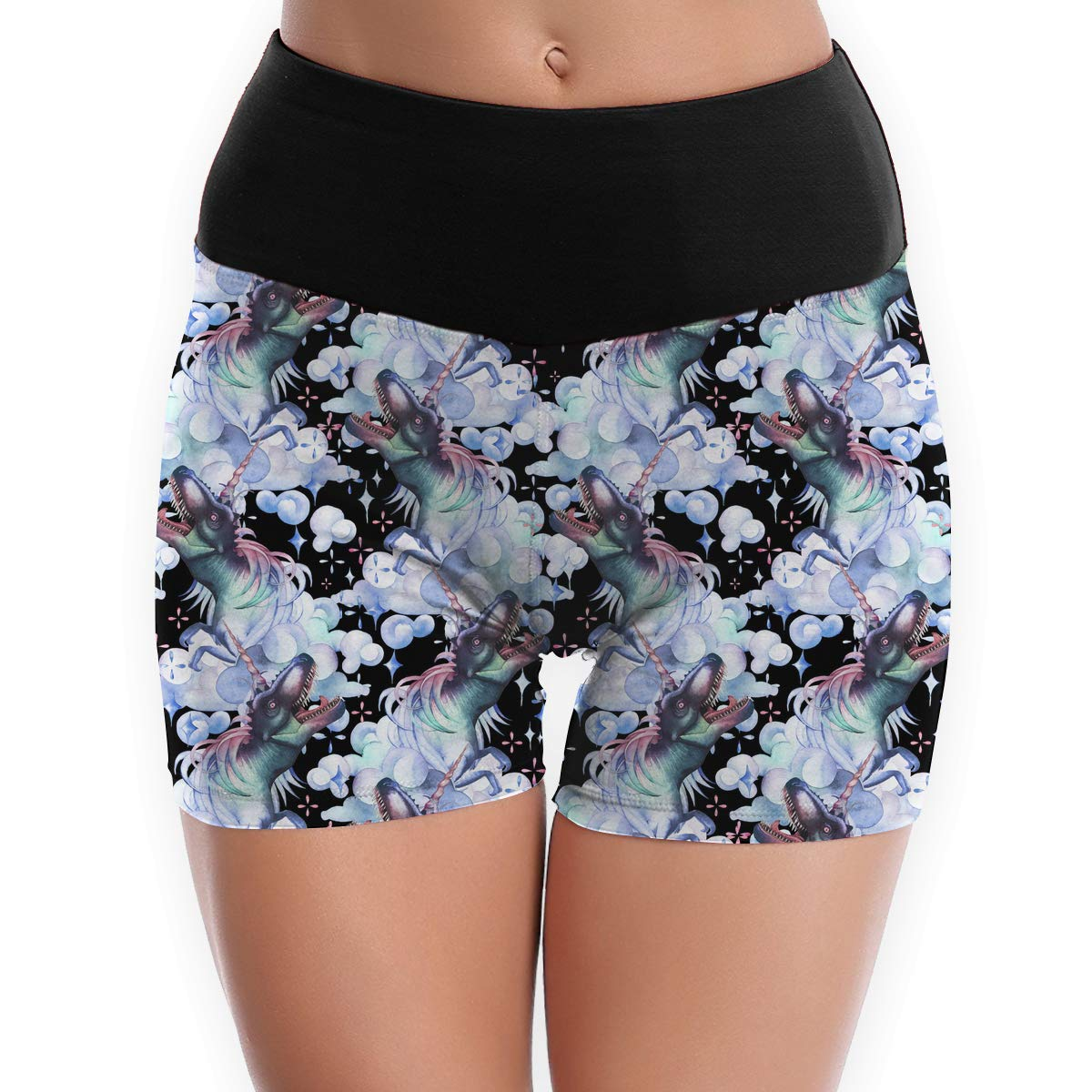 Tummy Control Hot Shorts S to XL Womens Watercolor Dinocorns Pattern Power Flex Yoga Shorts