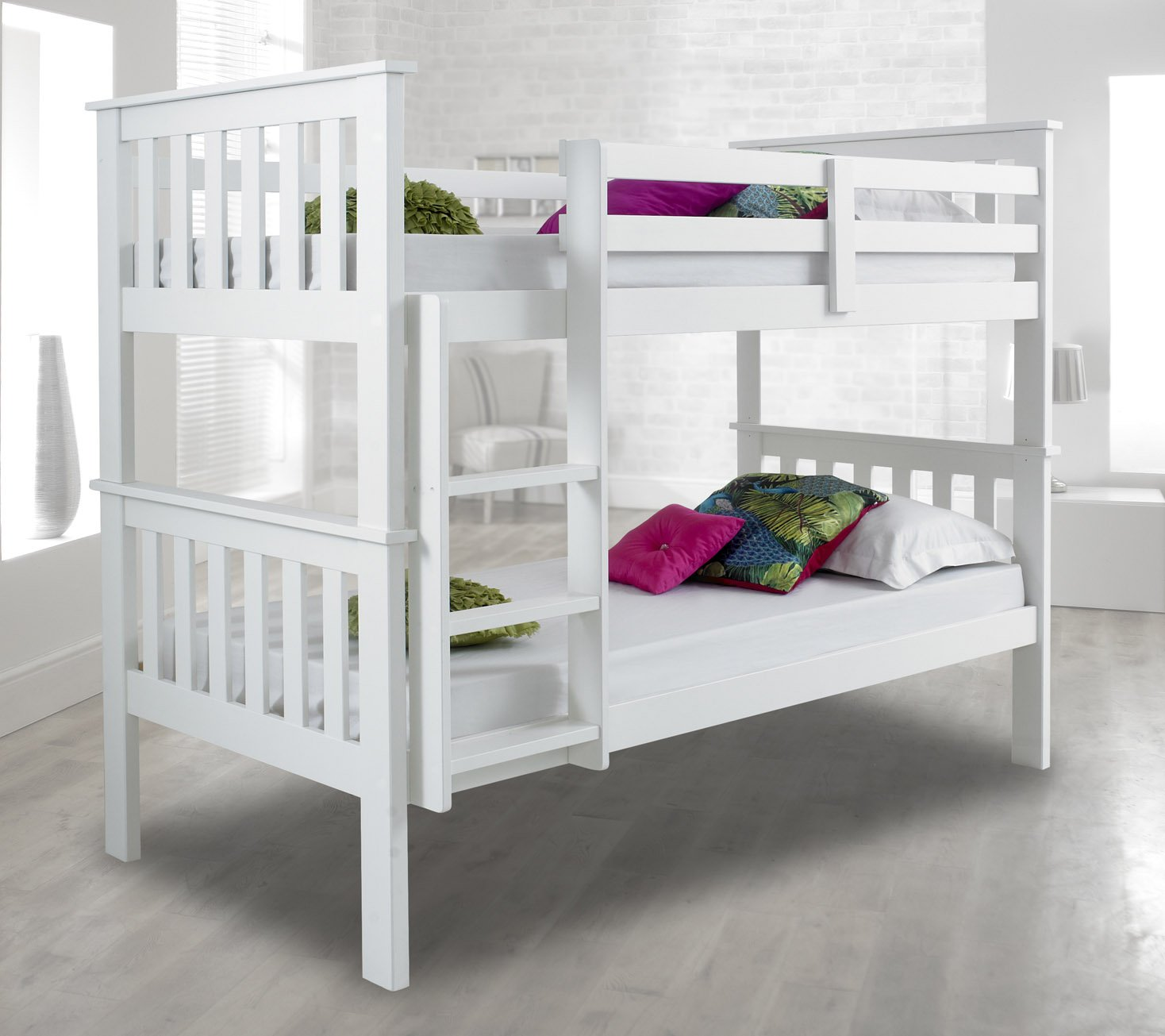 Amazon.com: Atlantis Pinewood White Bunk Bed Two Sleeper Quality ...