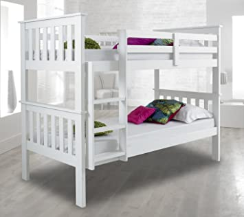 Atlantis White Bunk Bed Standard Two Sleeper Quality Solid Pine Wood Bunk  Bed With Two Memory