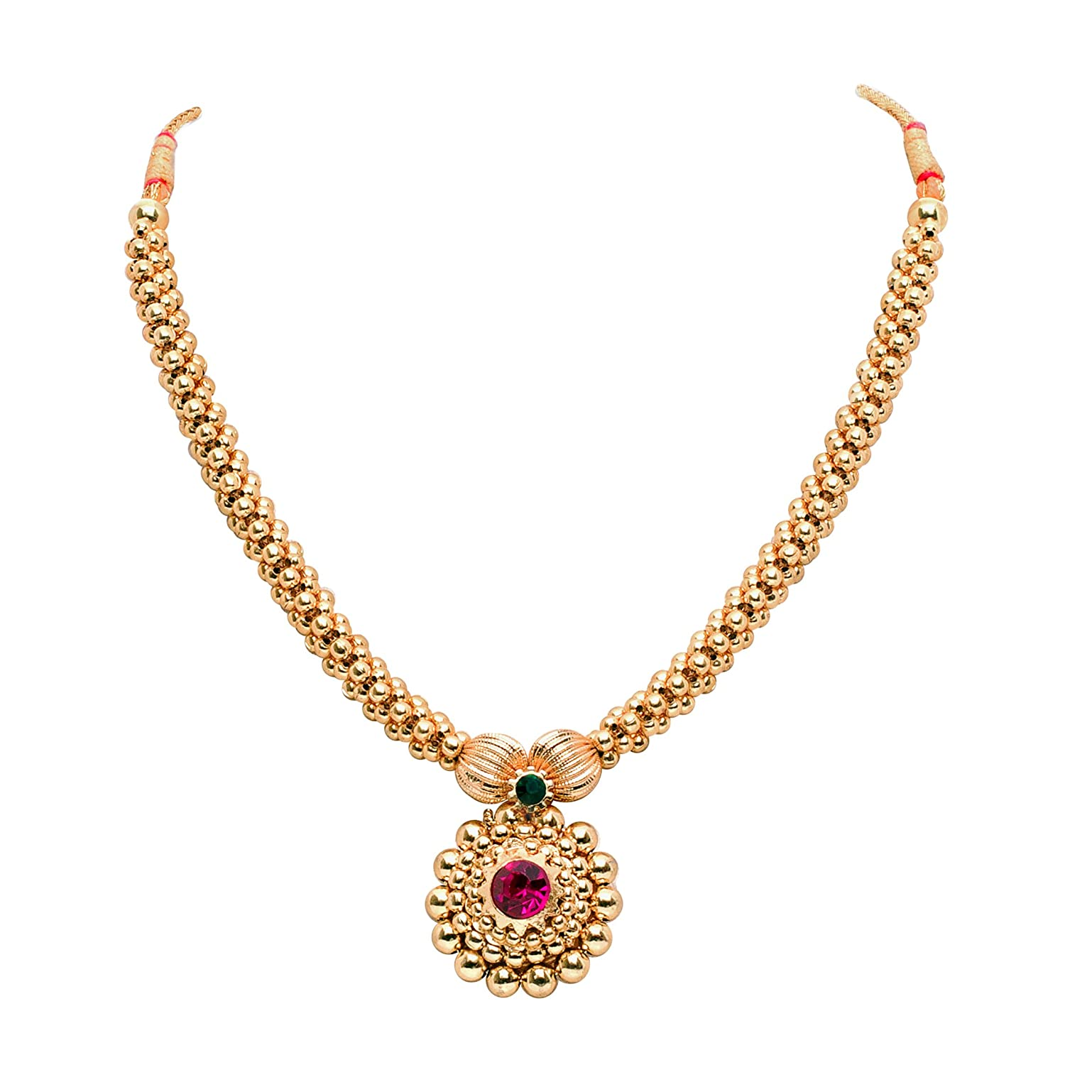 Buy senoritas traditional gold plated thushi th0001 with pink buy senoritas traditional gold plated thushi th0001 with pink stones and flower pendant online at low prices in india amazon jewellery store amazon aloadofball Images