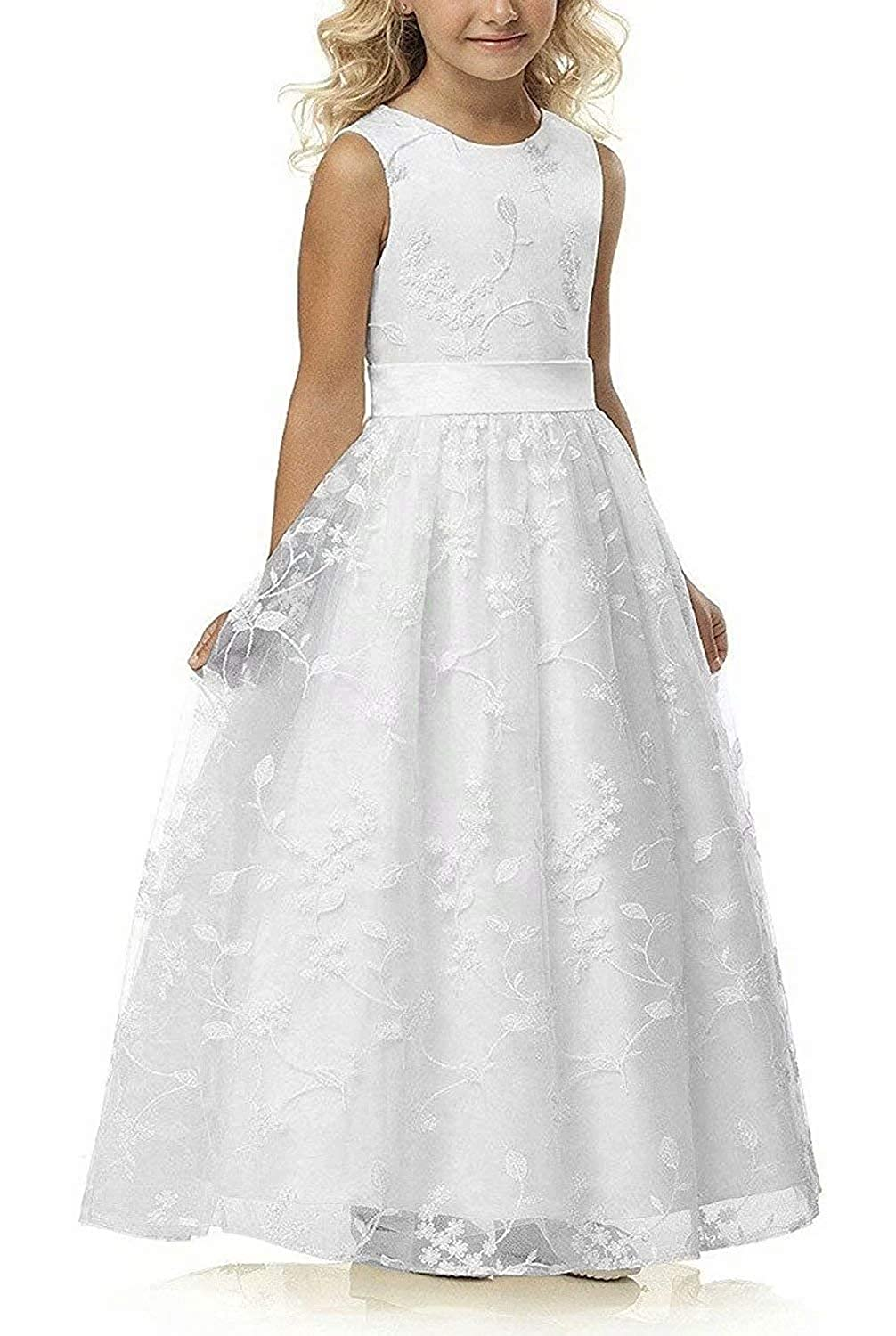 84bc43ca491 Amazon.com  A line Wedding Pageant Lace Flower Girl Dress with Belt 2-12 Year  Old  Clothing