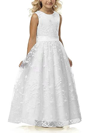 Amazoncom A Line Wedding Pageant Lace Flower Girl Dress With Belt
