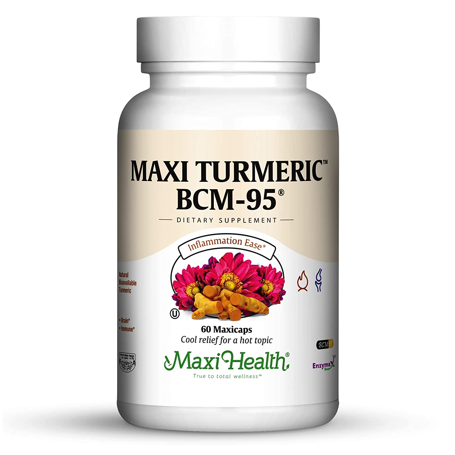 Turmeric Bcm-95 Curcumin – Potent Anti-Inflammatory, Pain Relief, Immune Joint Support, 60 Maxicaps – Gluten Free, Soy Free Kosher