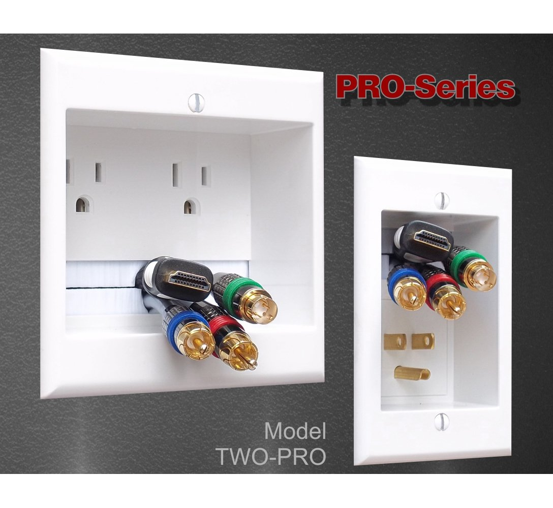 PowerBridge TWO-PRO-6 Dual Power Outlet Professional Grade Recessed In-Wall Cable Management System for Wall-Mounted Flat Screen LED, LCD, and Plasma TV's by PowerBridge Solutions (Image #4)
