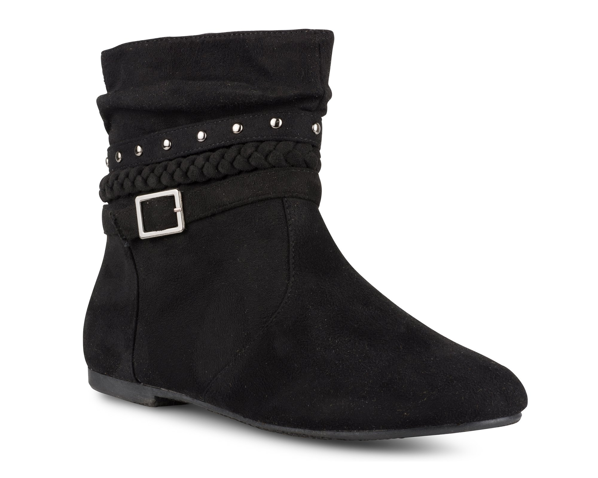Twisted Women's Shelly Faux Leather Ankle-High Slouchy Boot with Multi Buckle Straps - SHELLYDEV Black Suede, Size 9