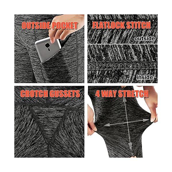 Lixada Womens High Waist Yoga Pants Tummy Control Workout Running 4 Way Stretch Yoga Leggings Tights With Pocket