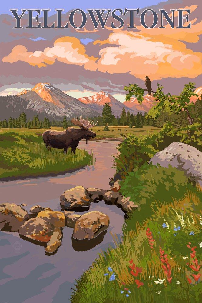 イエローストーン国立公園 – Moose and Meadowシーン 36 x 54 Giclee Print LANT-54050-36x54 B017E9T7SU  36 x 54 Giclee Print