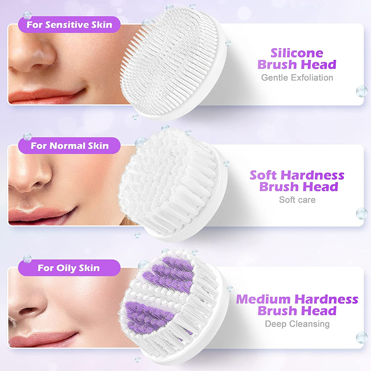 Facial Cleansing Brush,【2021 Upgraded】ETEREAUTY Waterproof Travel Face Brush with 4 Heads & Protective Case, Easy to Carry, Deep Cleansing Gentle Exfoliating for Face and Body, Purple: Beauty