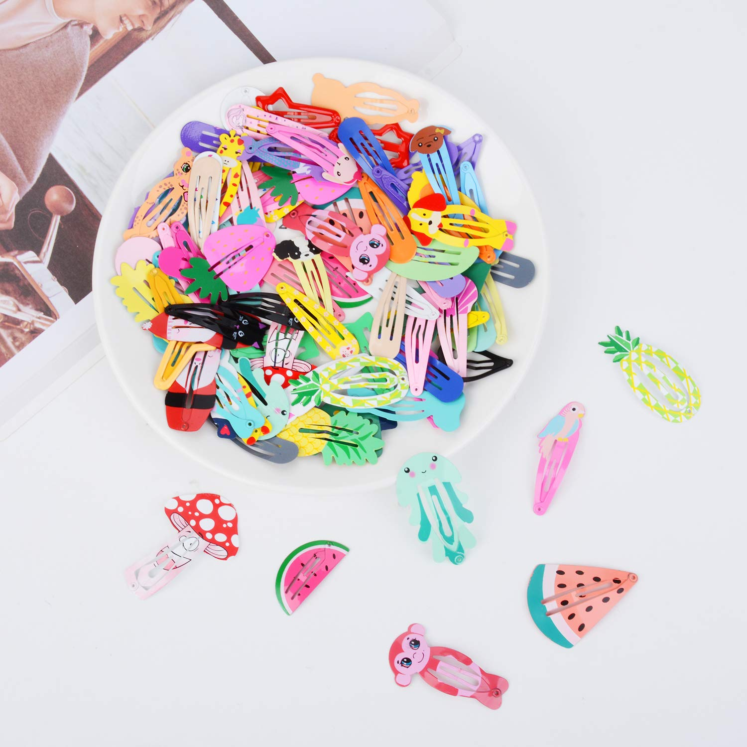 Lovely Hair Clips, Fascigirl 90PCS Animal Pattern Print Candy Color Heart Shape Star Shape Metal Snap No-slip Hair Barrettes Clips for Girls Toddlers Kids Women