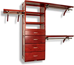 John Louis Home 16in. Deep Deluxe Organizer - 4 Drawers (6 & 10in Deep)-Red Mahogany Finish