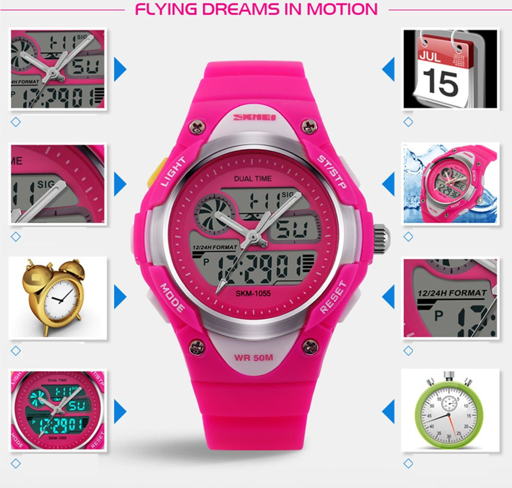 Girls Watches Digital Analog Dual Time Display Watch for Teens Youth Waterproof Rose by AMCAS (Image #3)