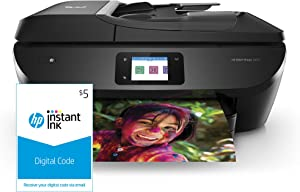 HP ENVY Photo 7855 All in One Photo Printer with Wireless Printing, HP Instant Ink & Amazon Dash Replenishment ready (K7R96A) and Instant Ink $5 Prepaid Code