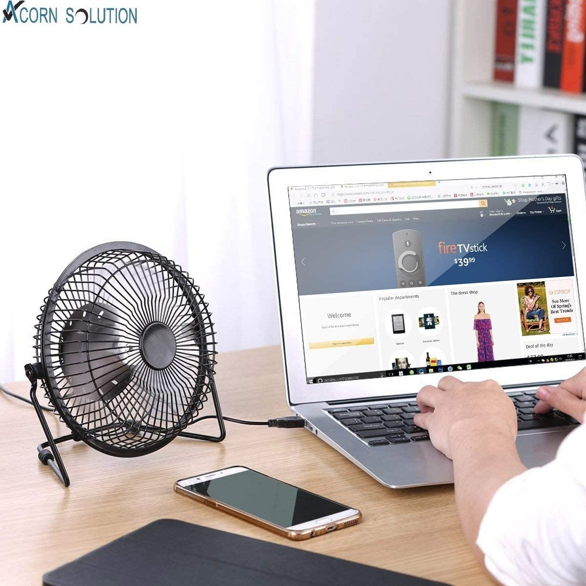 4-USB AcornSolution Ventilatore elettrico oscillante a 3 velocit/à bianco