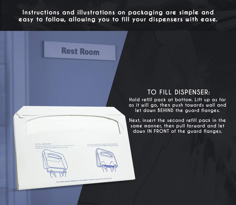 WC-Sitzbez/üge Wei/ß 4er Pack 250-14L X .10 W X 16H Juvale Paper WC-Sitzbez/üge WC-Sitzbez/üge Einweg