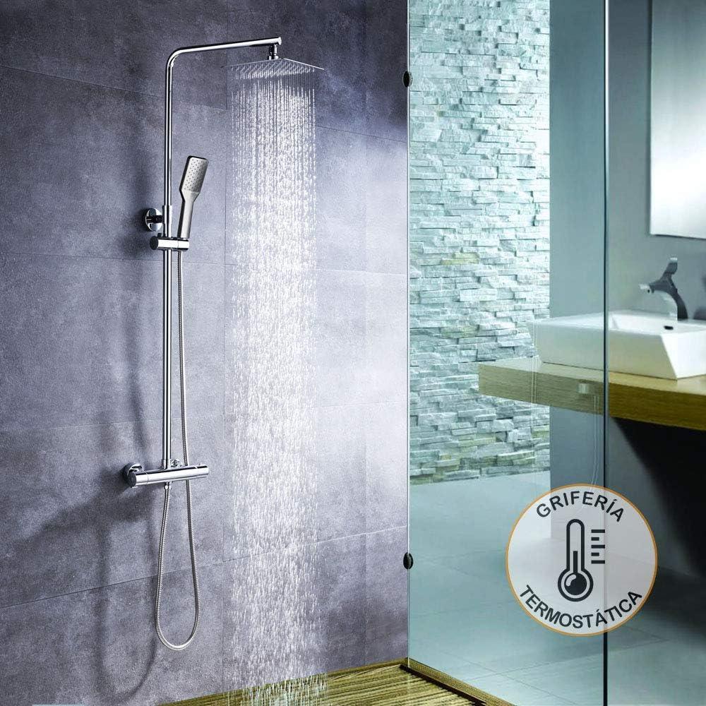 Columna de ducha con tubo redondo extensible de 80 a 120 cm. y ...