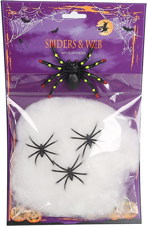 Pack Of 4 Black Plastic Spider With Cobweb Halloween Party Decorations