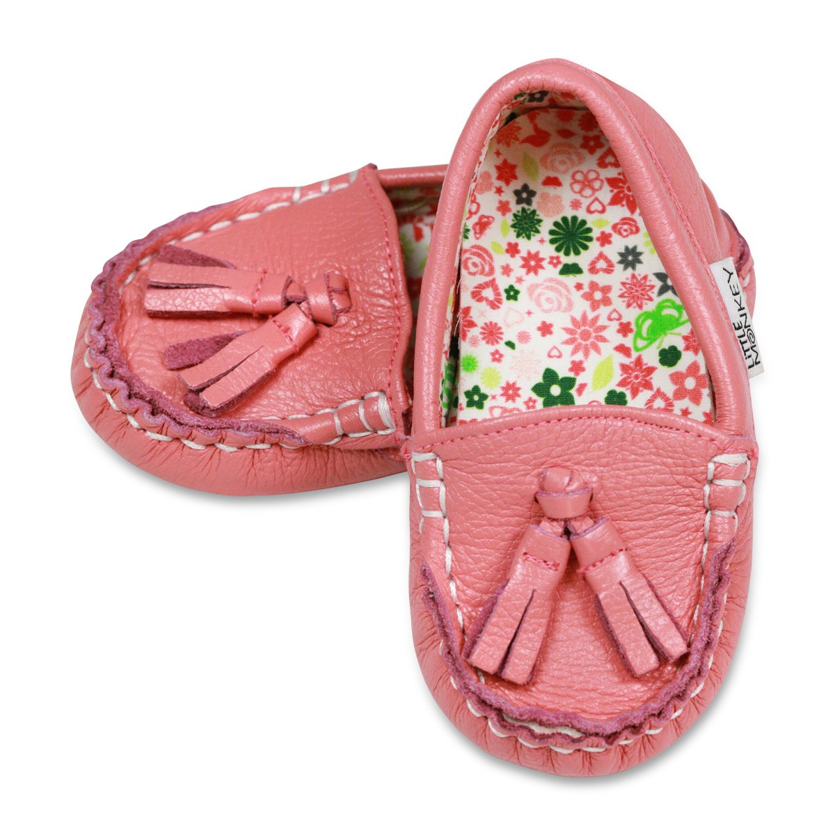 Pixie Pink Toddler Leather and Pattern Moccasins (Size 10)