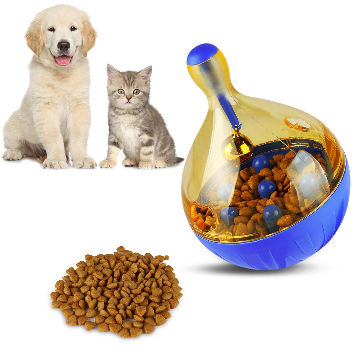 Airsspu Interactive Food Dispensing Dog Toy Dogs & Cats Increases IQ and Mental Stimulation Pets Treat-dispensing Ball - Squeaky Ball Dog Toy for Small/Medium/Large Dogs