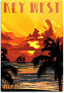 product image for Lantern Press Key West, Florida - Sunset and Ship 44527 (6x9 Aluminum Wall Sign, Wall Decor Ready to Hang)