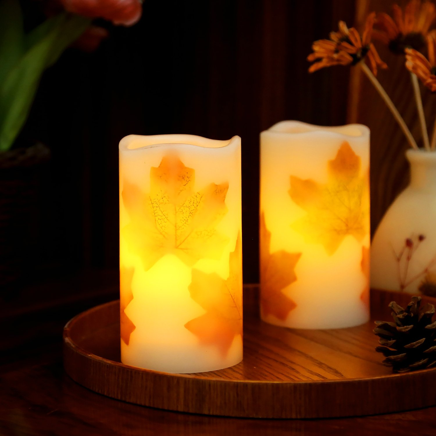 Amazoncom Greluna Flameless Maple Leaf Candles, Fall Flameless Candles With