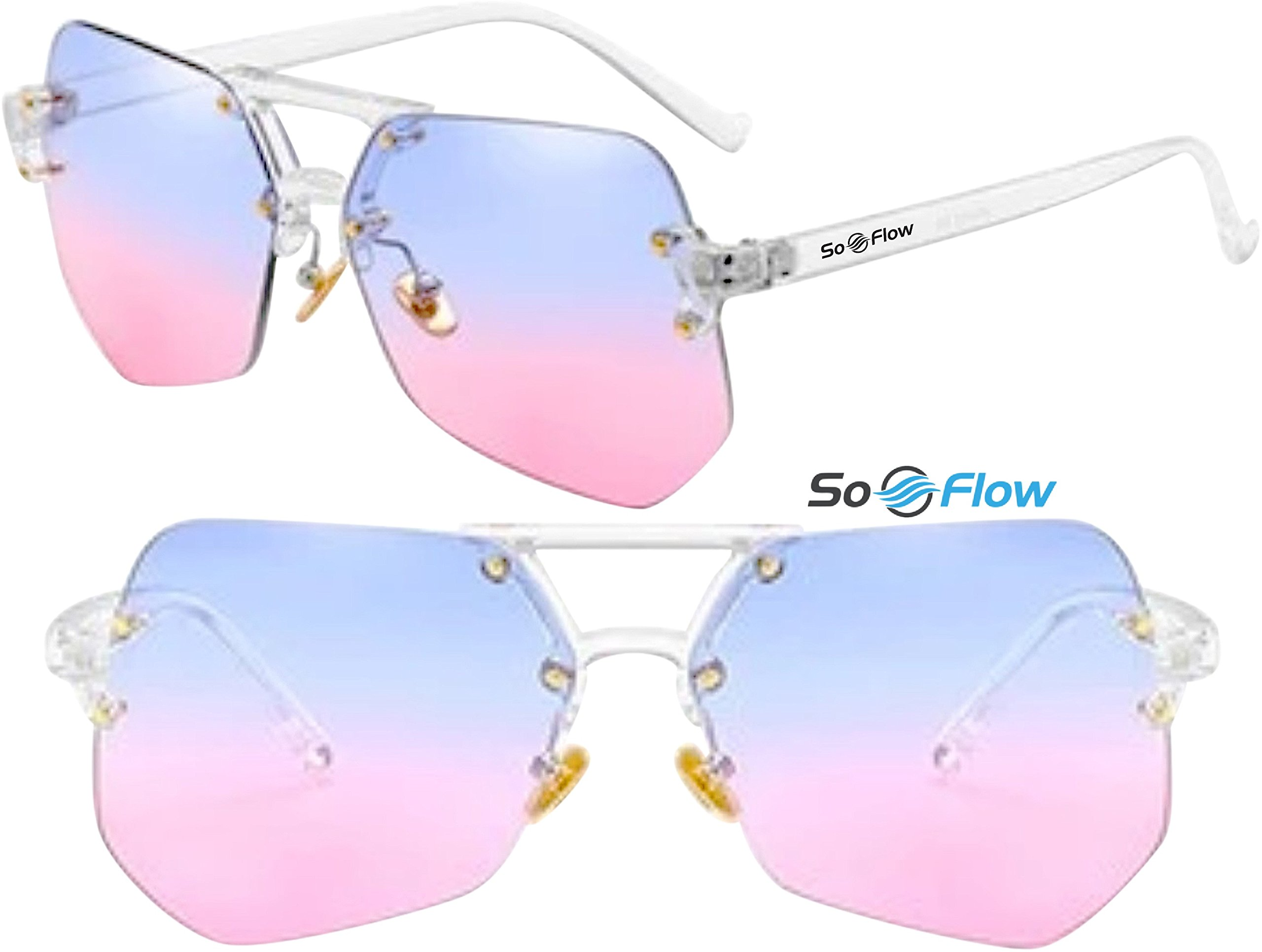 Pink and Blue Polarized Oversized Rimless Sunglasses For Women Men - Polygon - Prime UV400 Protection - Lightweight - Blue and Pink Lens Polarized Sunglasses - Large Rimless Oversized Sunglasses