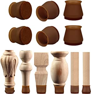 Chair Leg Protectors for Hardwood Floors&Tile Floors16+2Pcs,Chair Leg Covers to Protect Floors Have Indivisible Felt Pads, Move Furniture Quietly&Protect Your Floors from Scratches(Large, Dark Walnut)