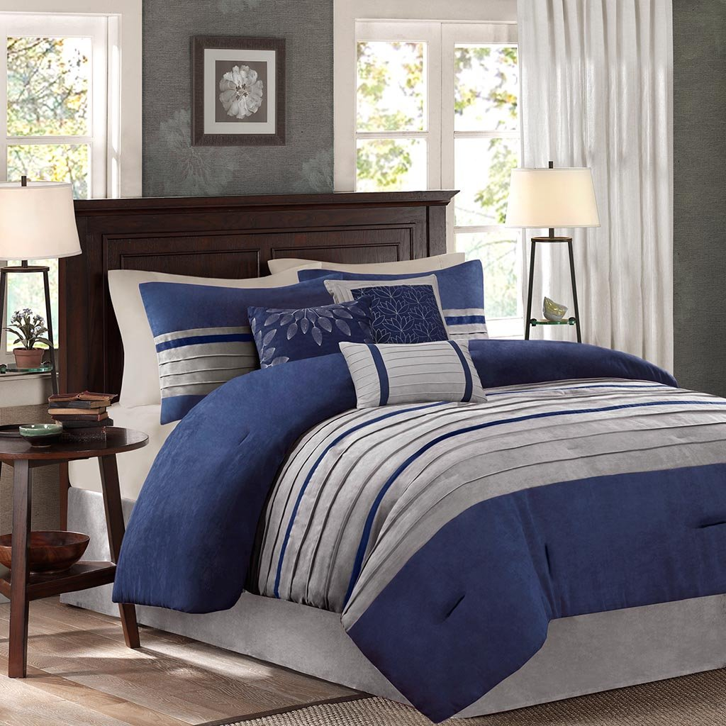 Madison Park - Palmer 7 Piece Comforter Set -Navy Blue and Gray - King - Pieced Microsuede - Includes 1 Comforter, 3 Decorative Pillows, 1 Bed Skirt, 2 Shams