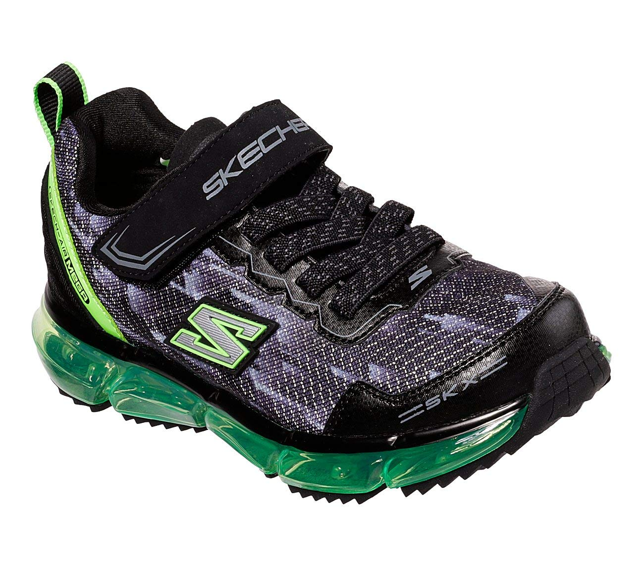 Skechers Boy's Skech-Air Mega - Azide, Training, Black/Lime, 13.5 US M