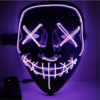 Purple Halloween Scary Mask Festival Parties Halloween Cosplay Led Costume Mask EL Wire Light Up Mask for Halloween