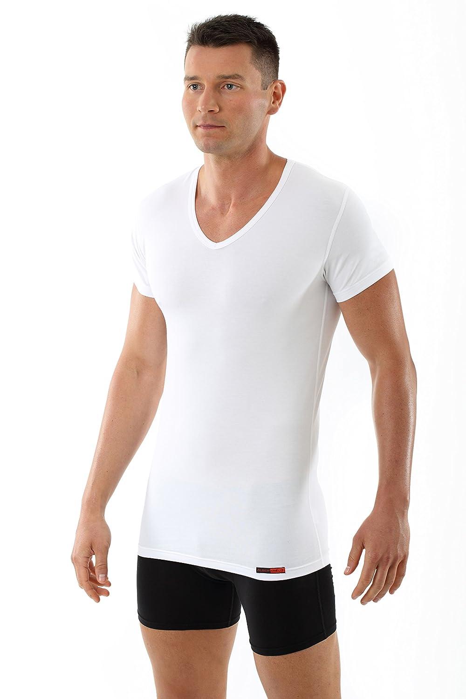 ALBERT KREUZ Men's Business undershirt stretch-cotton v-neck shortsleeves Hamburg white