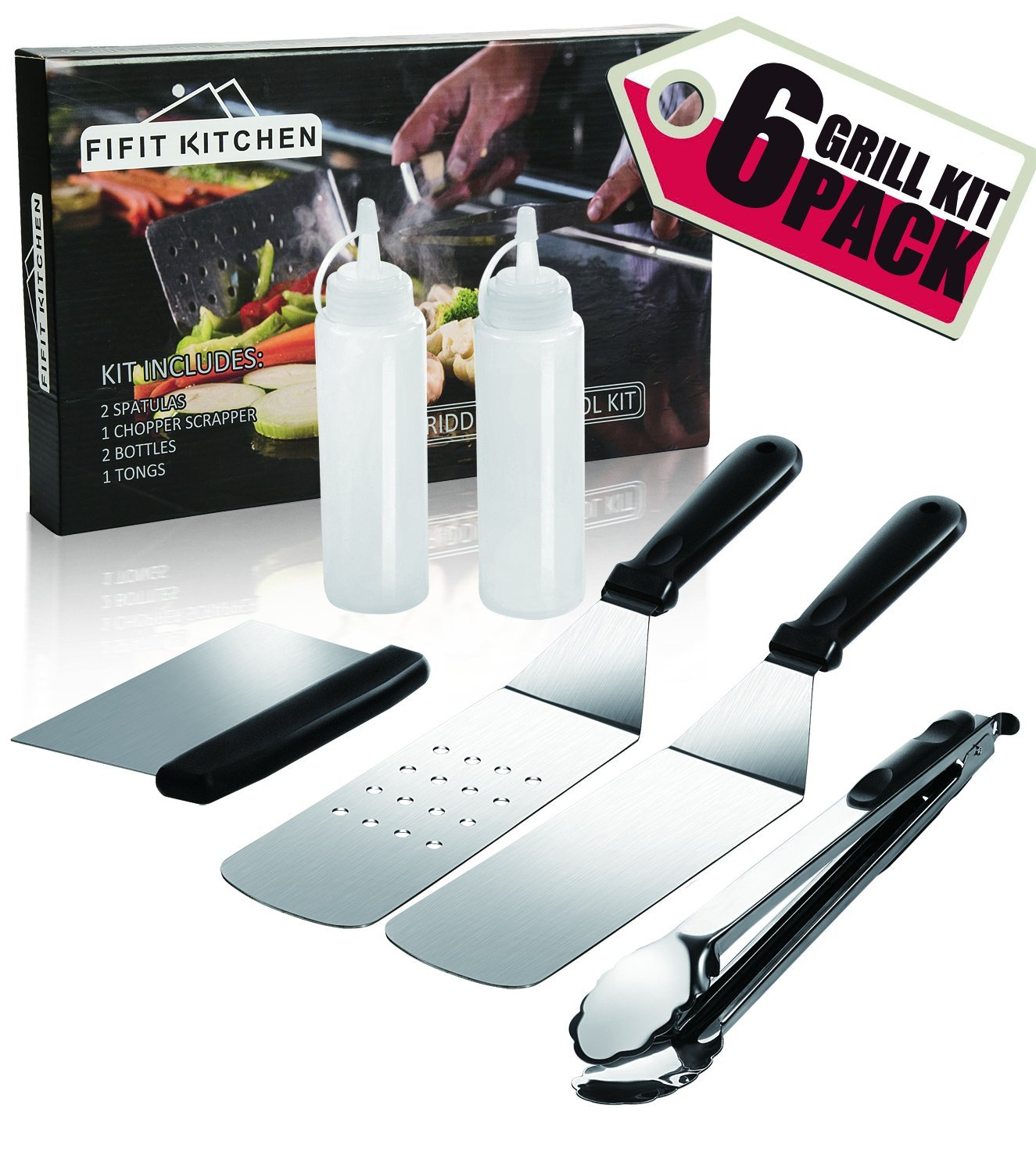 Grill Griddle Accessories BBQ Tool Kit-6 Piece Stainless Steel Grilling Utensils Set-2 Spatulas,1 Tongs,1 Chopper Scrapper,2 Bottle-Fits for Flat Top Cooking,Camping,Teppanyaki Grills and Griddle