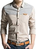 (アザブロ)AZBRO メンズ お洒落 カラーブロック シングルブレスト スリムフィット 着回し 長袖 かっこいい カジュアル シャツ