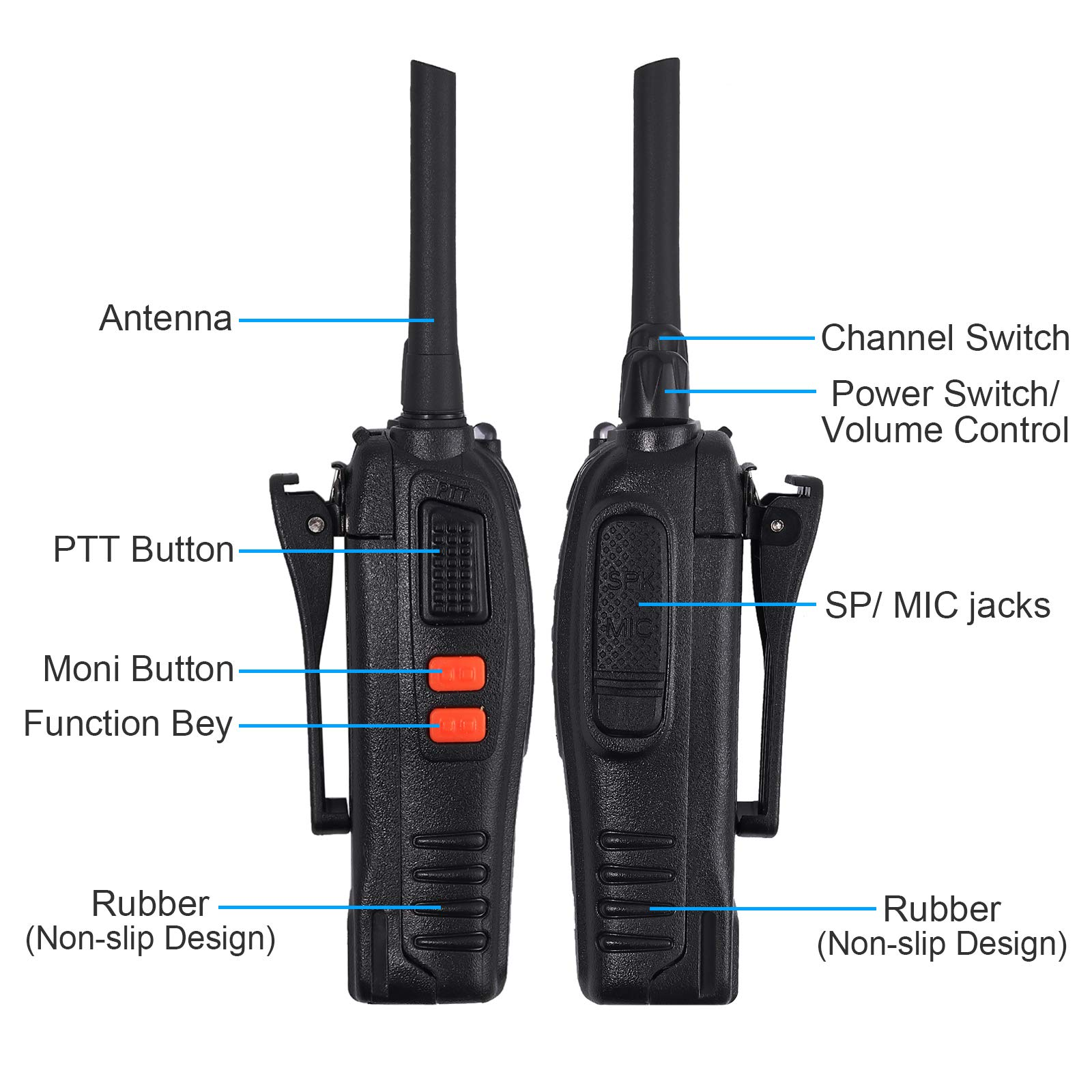 Neoteck 2 PCS Walkie Talkies Long Range 16 Channel 2 Way Radio FRS462MHz Walky Talky Rechargeable with USB Charger Original Earpieces for Field Survival Biking Hiking by Neoteck (Image #3)