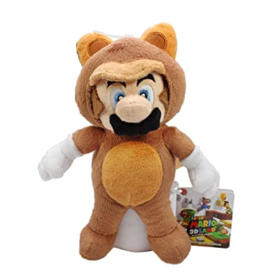 "Sanei Super Mario Raccoon Tanooki 8"" Mario Plush Doll: Toys & Games"