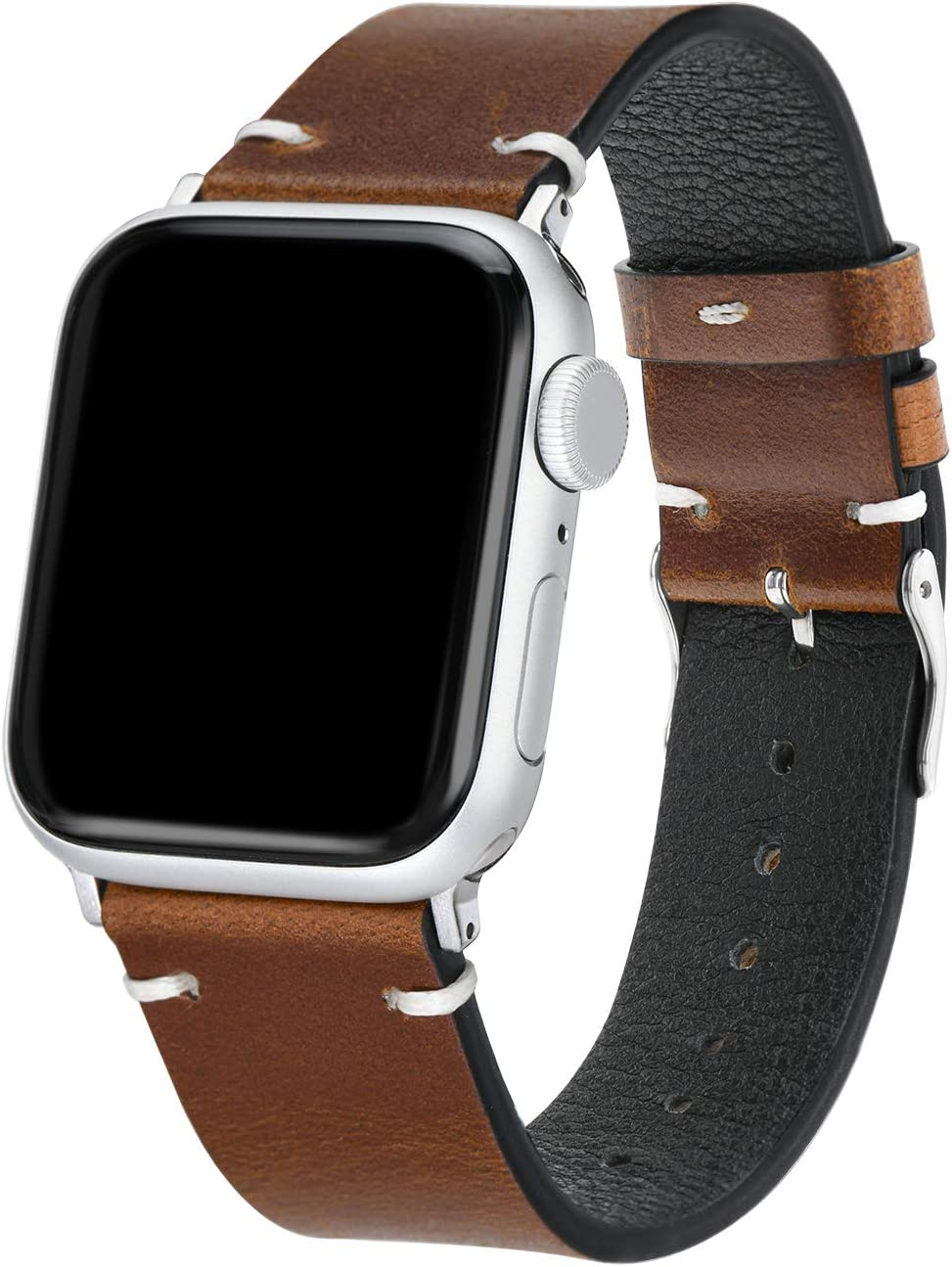 Ausimiet Leather Band Compatible with Apple Watch 38mm 40mm, Vintage Leather Replacement Wristband with Classic Clasp for iWatch Series SE 6 5 4 3 2 1